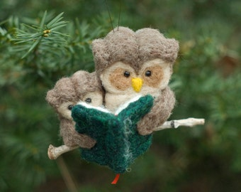 Needle Felted Owl Ornament - Reading to Young