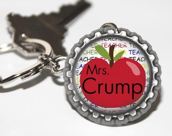 PERSONALIZED Teacher Apple Bottlecap Keychain - Teacher Gift, Teacher Appreciation, Thank You Gift, Back to School, End of the Year Gift