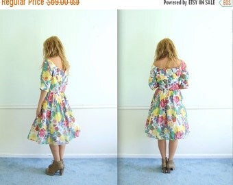 30% off ... Patina Rose Vintage 1950s Off Shoulder Boat Neck Cupcake Mini Dress LARGE L XL
