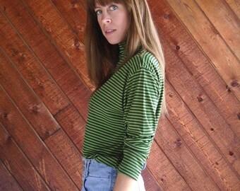 30% off ... Green Striped Long Sleeve Turtleneck Shirt Top - Vintage 70s - M L