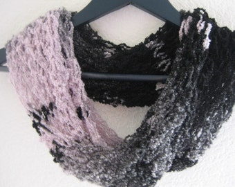 Infinity cowl, black ,grey,hint of pink, rich, round, soft ,hand knit, ready to mail