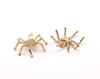 Spider Prong Setting, 10 Raw Brass Spider Setting Bases (33x32mm) N067