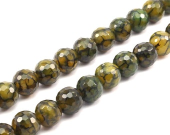 Green Crab Agate 12 Mm Disco Faceted Gemstone Round Beads Full Strand G1570