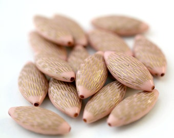 Acrylic Beads Pink Gold Acrylic Beads Etched Oval Beads 27mm (16)