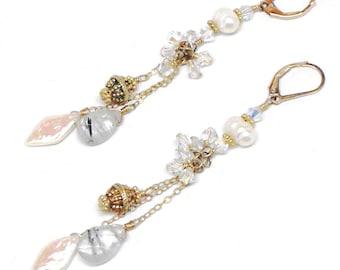pearl rutilated quartz gold-filled chain dangle earrings