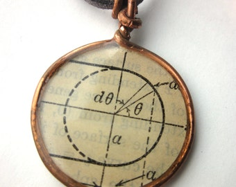 Copper resin necklace. Math diagram necklace. Book page necklace. Literary jewelry