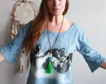 Wild Horses Off The Shoulder Bell Sleeve Tee Tshirt Tunic Festival Clothing Eco Friendly by Mountain Girl Clothing