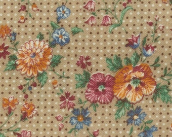 Calico Cotton Fabric, Tan background/small polka dots/variety of flowers/Green leaves, Sold by the yard, 44 inches wide, quilting, Feed sack