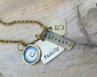 Golden Tags Personalized Brass Hand Stamped Necklace