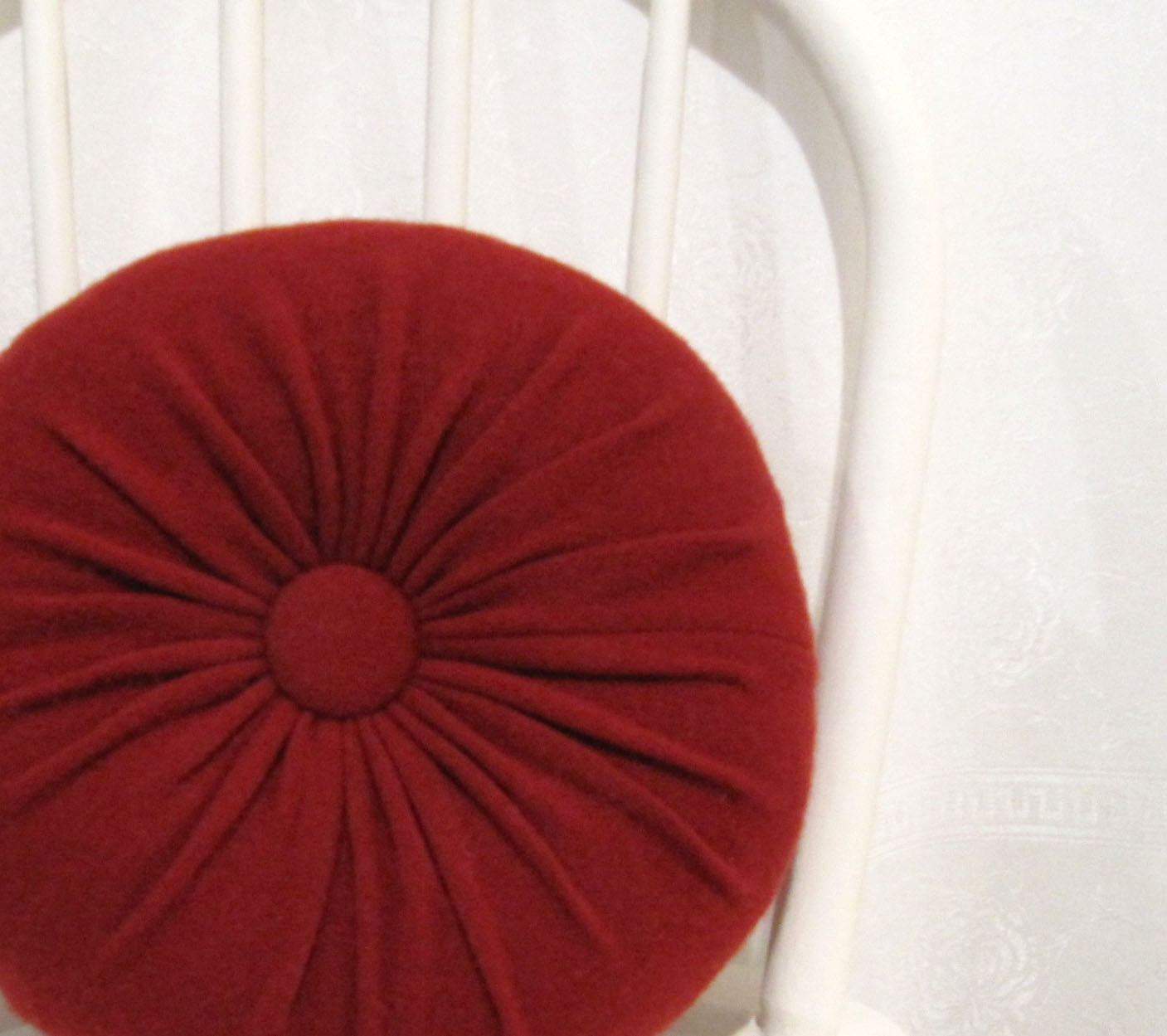 Red Cashmere Round Throw Pillow / Accent Decorative Couch