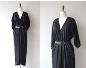 25% OFF.... Halston maxi dress | vintage 1970s caftan dress | black 70s cocoon dress