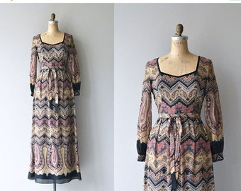25% OFF.... Tannekatya dress |  vintage 1970s maxi dress | printed bohemian 70s dress