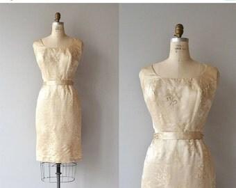 25% OFF.... Lys silk dress | vintage 1950s dress | silk 50s brocade dress