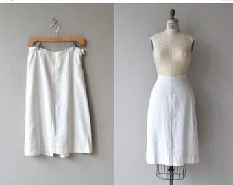 25% OFF.... June & July skirt | vintage 1940s skirt | white linen 40s skirt