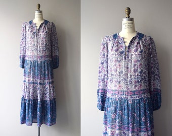 Moksh indian cotton dress | 1970s Indian cotton dress | floral print Indian hippie dress