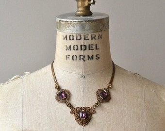25% OFF SALE Violane necklace   vintage 1930s necklace   brass and glass 30s necklace