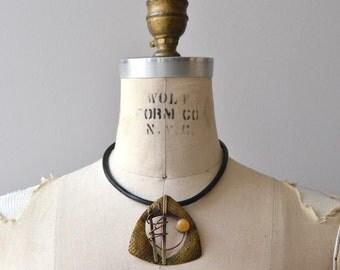 Studio Art necklace | vintage choker necklace | brass 1980s statement necklace