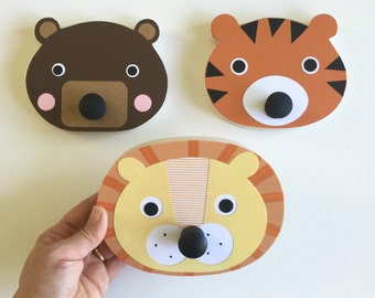 Lion, Tiger, Bear Wall Hook, Animal Wall Hanger, Children's Wall Art, Animal Nursery, Faux Taxidermy, Baby Nursery, Lion Hanger,