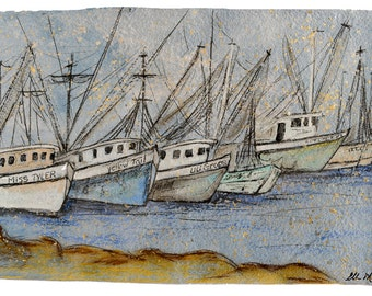 Shrimps Boats- PRINT matted to fit 11x14 standard frame