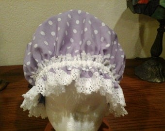 Fancy Shower Cap Lavender and White Polkadot Cotton Lace Trim Fits EX Large and Large, Durable and Washable