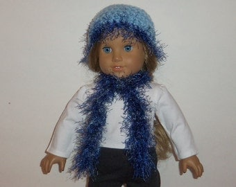 Crochet Doll Hat, 18 Inch Doll, Light Blue, Crochet Fluffy Scarf,  Accessories, American Made, Girl Doll Clothes