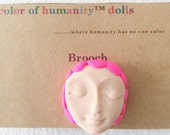 """Doll Pin in Linen """"Hot Pink"""""""