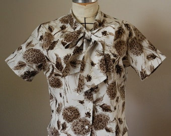 Vintage blouse, 1960s crepe, white and brown floral shirt, short sleeves, bow tie, Small, Medium