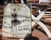 "TOTE BAGS Skeleton Ballerina Skull Vintage Ad Tutu Dancer 16""X16"""