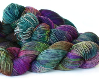Aurora 437 yards on 'Nepal' Sock Fingering Yarn/ 4 ply merino - yak yarn, handpainted