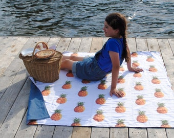 Tropical Picnic Blanket, Pineapples, ORGANIC Picnic Blanket, Beach Blanket