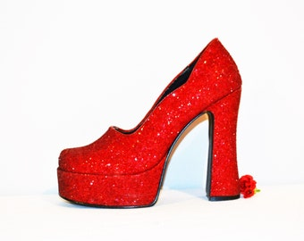 Vintage Red Shoes Chunky / Platform