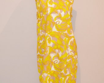 Vintage Dress 1960's Shift Style with Yellow Print