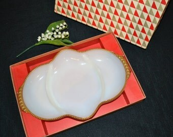 Vintage Fire King Milk Glass Divided Dish 50's