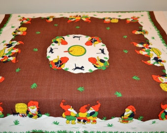 Vintage Tablecloth 1950's Gnomes