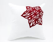 White Snowflakes Pillow Cover, Red Snowflakes on White Linen Pillow, Decorative Pillow for couch, Throw Pillow Cover 18 x 18, Red Cushion