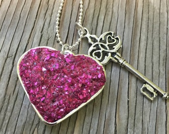 Fabulous fuchsia heart shaped faux druzy pendant and key charm- handmade jewelry Valentine's Day girlfriend gift