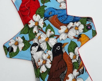 """10"""" Moderate Cotton Topped Radical Rags Cloth Pad """"Wild Birds"""""""