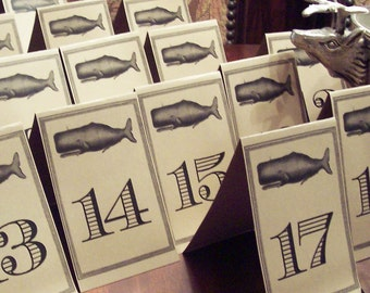 Whale Wedding Table Number Cards Kraft or Cream Set 18 Ocean Sea Beach Decor Rehearsal Dinner Reception Party Yachting Boating Seaside Event