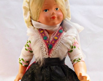 """1950's Vintage Early Plastic Travel Doll 8 1/2"""" DOLL Traditional Costume Blonde Beauty"""