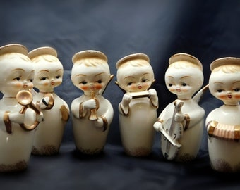 Vintage Napco 6 piece Angelic Children Band Members , ON SALE , Angels playing musical instruments RARE 1940/50  Figurines in mint condition