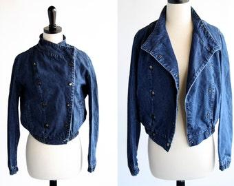Vintage Dark Denim Cotton Sport Woman's Size XS/S Jean Jacket