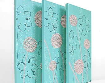 ON SALE Pink and Aqua Nursery Wall Art - Textured Flower Canvas Painting Triptych - Medium 32x20