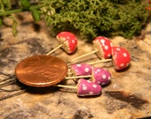 Garden Ceramic  Mushroom miniature Stakes 3  Magical  Shroomz -  terrarium  Container garden Tiny Sized