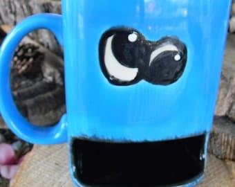 Cookie Monster Mug Cup  PAINTED - Googly Eyed  Dunk Mug - Ceramic Cookie & Milk Mug om