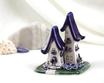 Purple lavender Turquoise House of tiny fairies - Hand Made Ceramic Eco-Friendly Home Decor by studio Vishnya