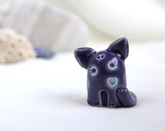 little Purple lavender & Turquoise Summer romantic Cat - Hand Made Ceramic Eco-Friendly Home Decor by studio Vishnya