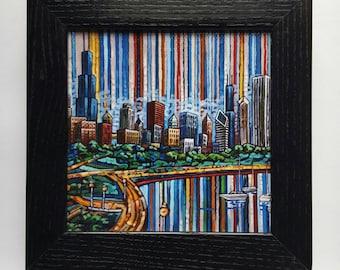 Chicago Skyline, Chicago Boats, Chicago Summer, Lake Michigan, 5x5 Box Frame Art Print on Canvas