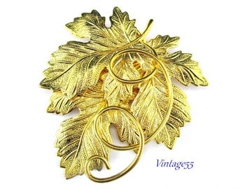 Brooch Grape Leaf Wine Fall Gold tone