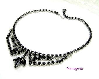 Necklace Black Rhinestone Weiss silver tone