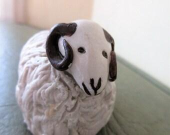 Vintage Sheep, Bryn Melyn Studio Sheep, Ceramic Sheep,  Made in Wales, Ram, Sheep Figurine, Welsh Ceramic Figurine, Spaghetti Sheep